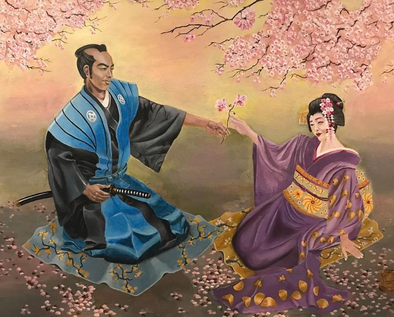 Tranh: Một samurai Nhật và một geisha Nhật.